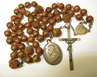 Circa Late 1800's Scarce Antique Boxwood Beads Rosary Silver/Silvered Brass-Scarce 'Salvatori Mundi' Medal