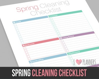 Modern One Page Spring Cleaning Checklist - Instant Download! PDF format ready to edit or print at home!