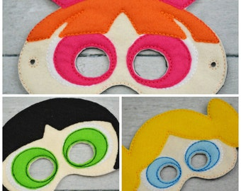 Superhero Sisters Children's Felt Mask Set  - Costume - Theater - Dress Up - Halloween - Face Mask - Pretend Play - Party Favor