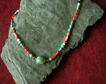 Jewelry for Bema  Agate Coral and Turquoise Stone Necklace