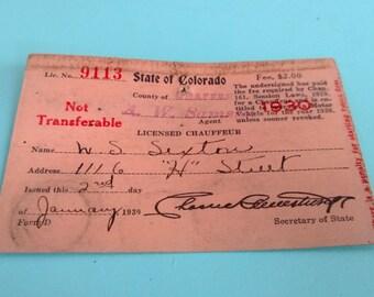 Vintage Colorado Chauffeur License 1939 Free Shipping
