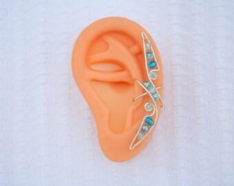Silver Ear Cuff Elegant Ear Wrap. - Non-Pierced Earring.