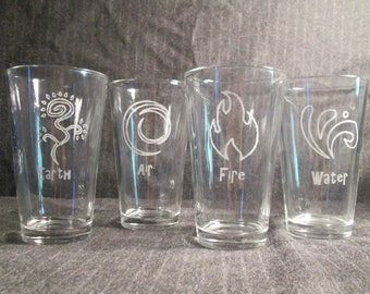 4 Elements Pint Glass Set