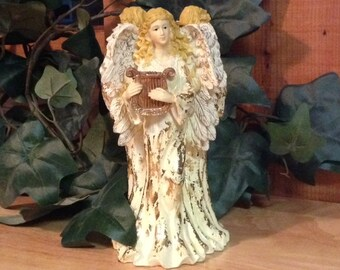 Angels Instruments Ceramic Shabby Chic Figurine Taper Candle Holder Gold Cream
