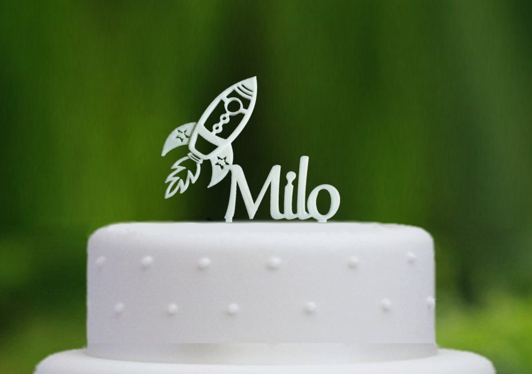 Personalised Rocket Cake Topper Personalised with any