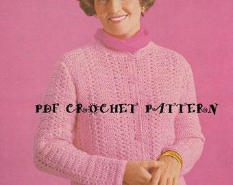 Ladies' Shell Striped Cardigan, Vintage 1960s, Instant Download, Crochet PDF Pattern