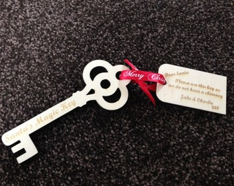 Personalised Santa Key / Father Christmas Key to leave out on Christmas Eve  Laser engraved