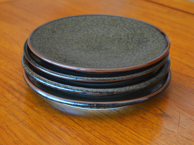 Black Ceramic Plate Hand Thrown Porcelain Pottery Side