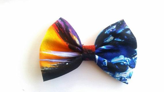Galaxy hair bow galaxy fabric hair bow by leahashleeydesign for Glow in the dark galaxy fabric