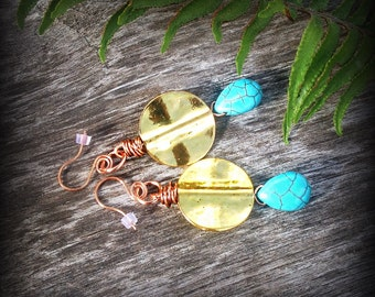 SALE, Golden Disk Turquoise and Copper earrings