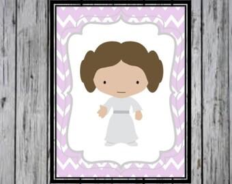 Princess Leia- Star Wars Inspired art, Star Wars Poster, Star Wars Kids Room, Star Wars Nursery, star wars wall art PRINTABLE