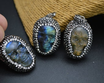 1pc New arrival Shiny Natural Labradorite Carved Stone Skull Pendant Paved Crystal Beads on side Fashion jewelry Making supplies