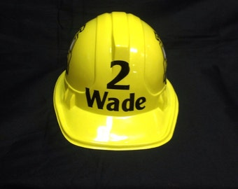 Personalized Construction Hat with name, age and truck or tractor
