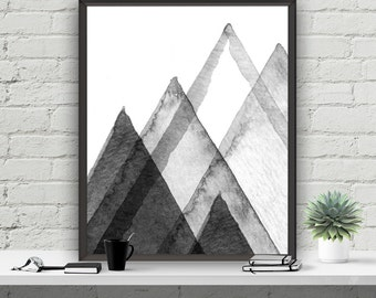 Abstract Printable Art Wall Decor Mountains Poster Home Decor Instant Download Printable Art Grey Decor Typography Poster Scandi Design
