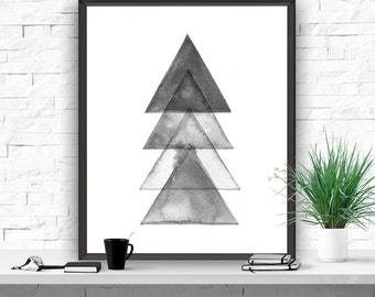 Printable Art Abstract Modern Art Geometric Art Print Minimalistic Poster Home Decor Instant Download Printable Art Triangles Tree