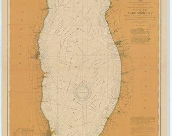 Lake Michigan - South End Historical Map 1905