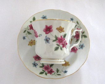Vintage Tea Cup & Saucer Floral Fine China Garden Tea Party Decor