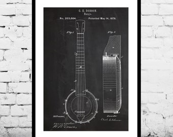 Banjo Print, Banjo Poster, Banjo Patent, Banjo Decor, Banjo Design, Banjo Wall Art, Banjo Blueprint, Banjo Art  p037