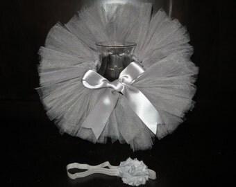 Silver infant tutu, silver newborn tutu, silver baby tutu