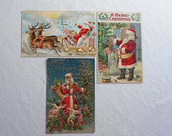 Vintage Christmas Postcards lot of 3 Santa Claus