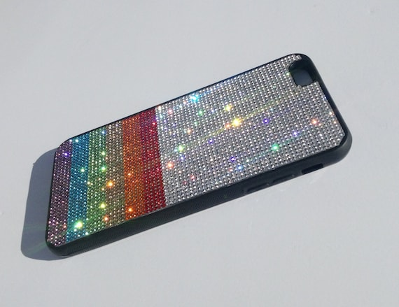 "iPhone 6 Plus / 6s Plus Rainbow "" PRIDE "" Crystals on Black Rubber Case. Velvet/Silk Pouch Bag Included, Genuine Rangsee Crystal Cases"