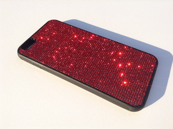 iPhone 6 Plus / 6s  Plus  Siam Red Rhinestone Crystals on Black Rubber Case. Velvet/Silk Pouch Bag Included, Genuine Rangsee Crystal Cases