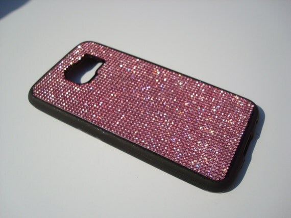 Galaxy S6 Pink Diamond Crystals on Black Rubber Case. Velvet/Silk Pouch Bag Included, Genuine Rangsee Crystal Cases.