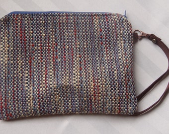 "Zipper Pouch, Multicolor with Detachable Leather Hand Strap, 7.5"" x 9"""