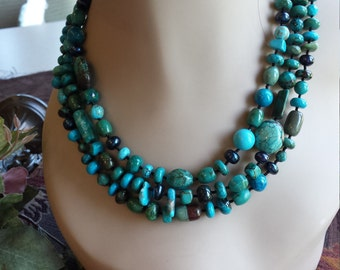 three strand assorted turquoise beads necklace
