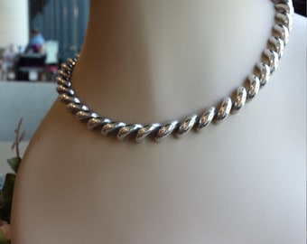 Sterling silver rope twist necklace