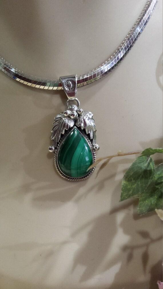 Native American sterling silver malachi pendant