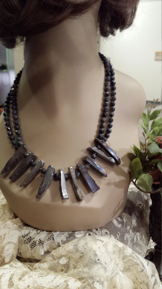 Two strand beaded faceted laborodite necklace with center drops