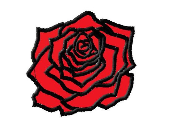 Decorative rose applique embroidery machine design instant