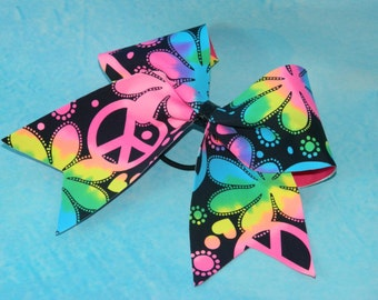 Flower power, peace sign cheerbow.