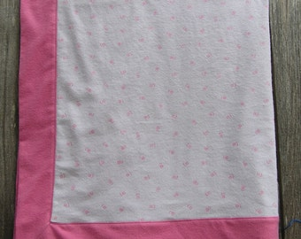 Pink Flannel Baby Girl Blanket with Tiny Pink Flowers on White, Baby Receiving Blanket, Soft Flannel Baby Blanket, FREE SHIPPING!