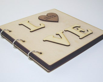 LOVE - anniversary Gift: Wood covered scrapbooking photo album, topped with our free, unique custom-made personal engraving service
