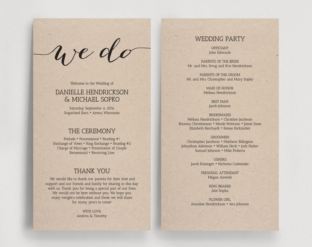 Wedding Programs Printable Template By BlissPaperBoutique On Etsy