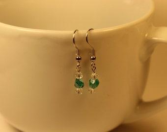 Green and Clear Dangle Earrings