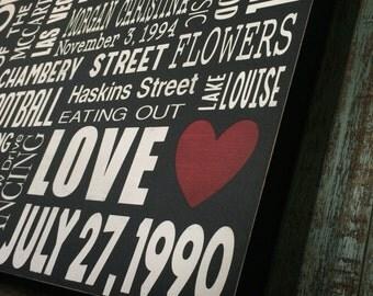 18X24, Personalized Word Collage, Custom Wood Subway Sign, Subway Art