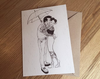Rockabilly, Pin Up, Greeting Card, Art Print 'Romance in the Rain' *Free UK postage*