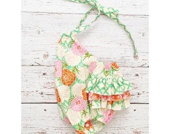 3-6 month floral cotton sunsuit  // romper // baby romper // floral sunsuit // baby bubble romper // ruffle romper