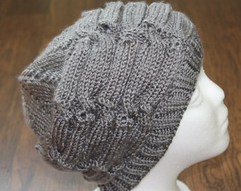 Woman's gray knit slouchy winter hat