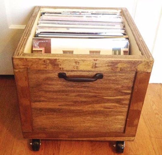 lp vinyl record wooden storage box crate with wheels by. Black Bedroom Furniture Sets. Home Design Ideas