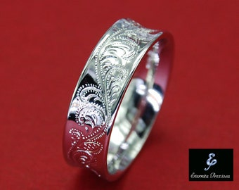 6mm Concave Sterling Silver Ring , Flower Ornate Hand engraved Ring , Comfort Fit , Antique engagement, Feminine, womens band ring