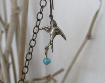 Earrings Dangle Vintaj Brass Turquoise Bead