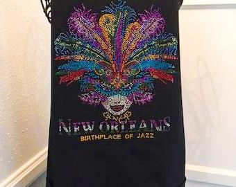 New Orleans Mardi Gras Apron, Mardi Gras, Apron with pockets, New Orleans, Apron , Apron with Rhinestones, Black Apron