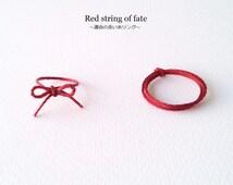 Red string of fate ring, durable red string ring, ribbon ring, kabbalah, luck ring