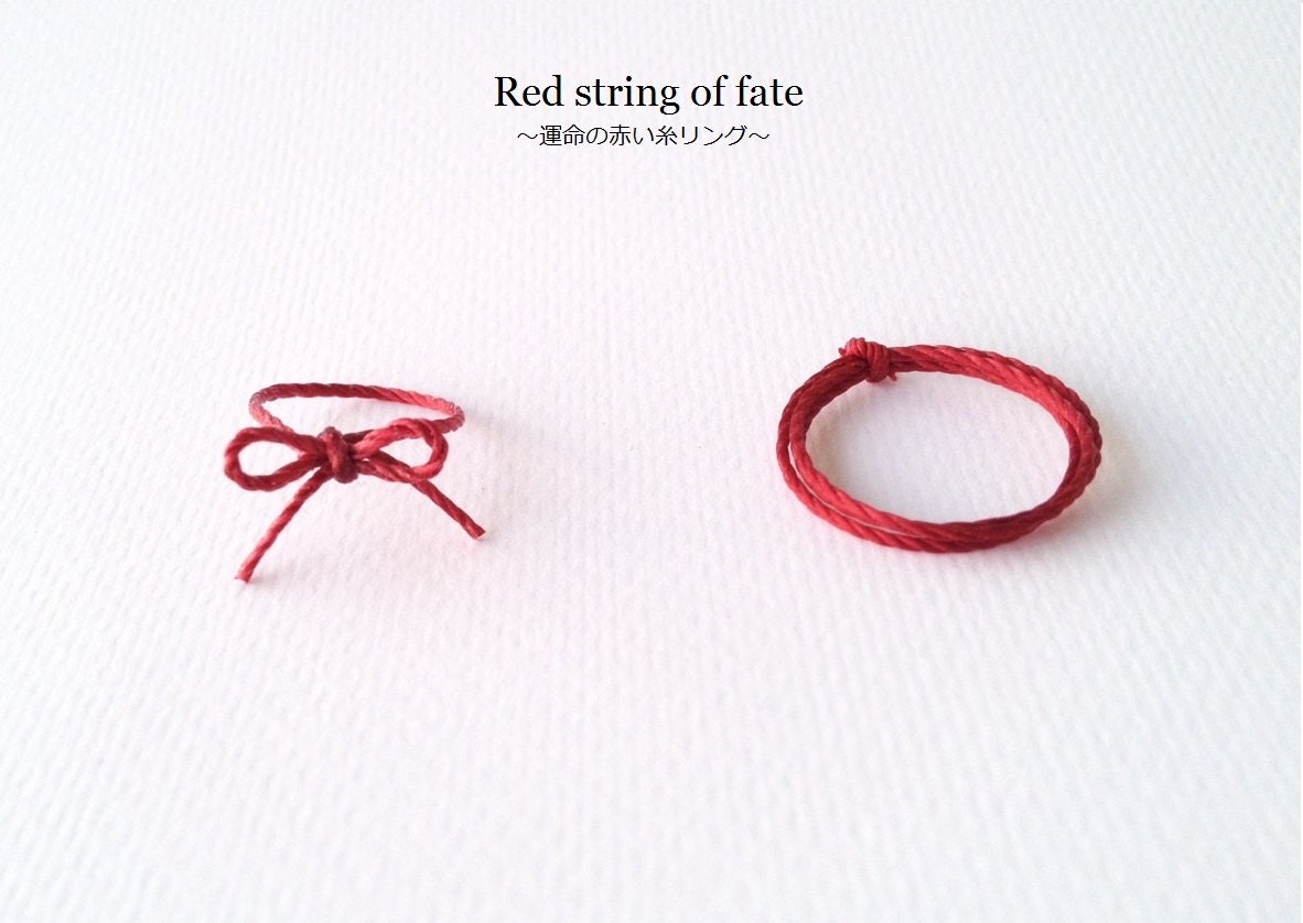 Red string of fate ring durable red string ring ribbon by meguShop