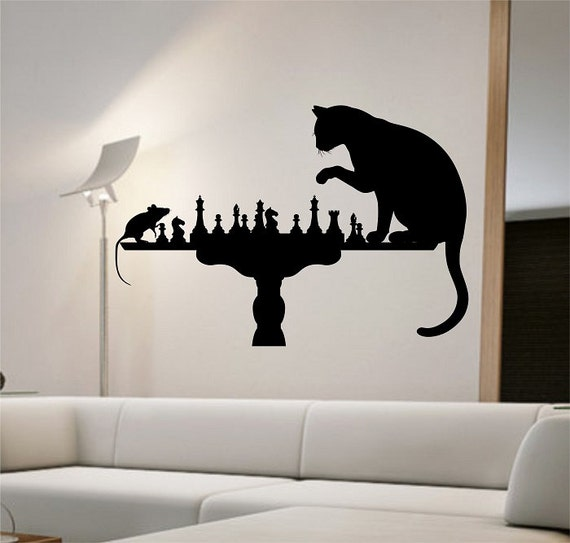 Cat Mouse Wall Decal Playing Chess Sticker Art Decor Bedroom