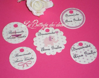 50 tags/cards for births and baptisms, handmade and customizable